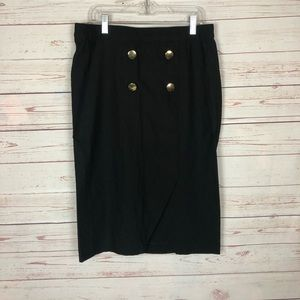 Larry Levine Black Stretch Pencil Skirt Size M NWT